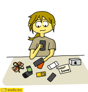 Een meisje met heel veel telefoons